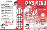 KIDS MENU DESIGN & ILLUSTRATION - Hideaway Pizza, Oklahoma