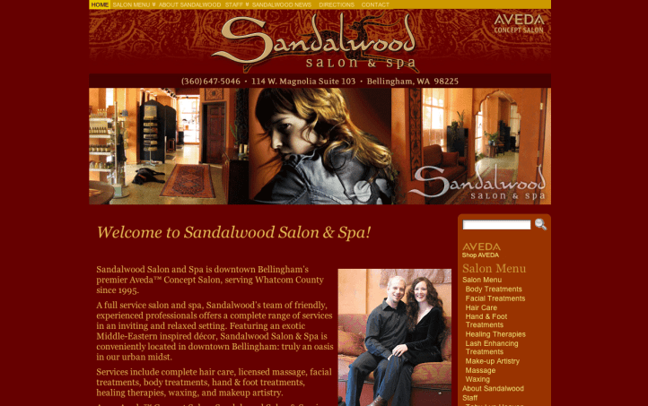 Sandalwood Salon and Spa - Bob Paltrow Web Design Bellingham WA