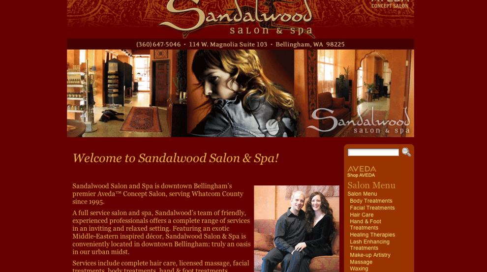 Sandalwood Salon and Spa - Bob Paltrow Web Design Bellingham WA