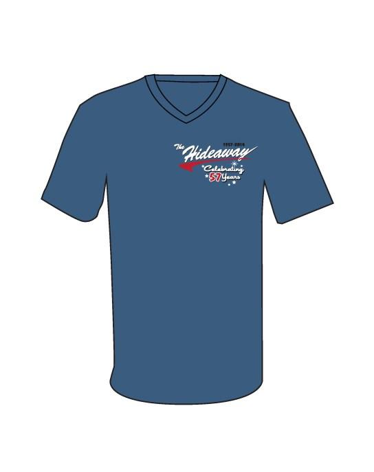 57 Shirt - Retro Swoosh Sparkle 57 on Blue