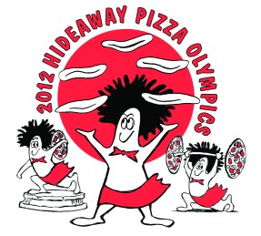 Hideaway Pizza Olympics T-shirt Design & Illustration by Bob Paltrow, Bellingham WA