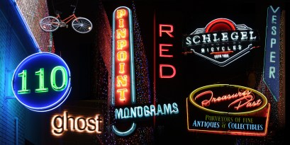 Neon Sign Photo Collage Triptych 3 of 3 by Bob Paltrow Design for Hideaway PIzza. Each panel is 4 ft. x 2 ft.
