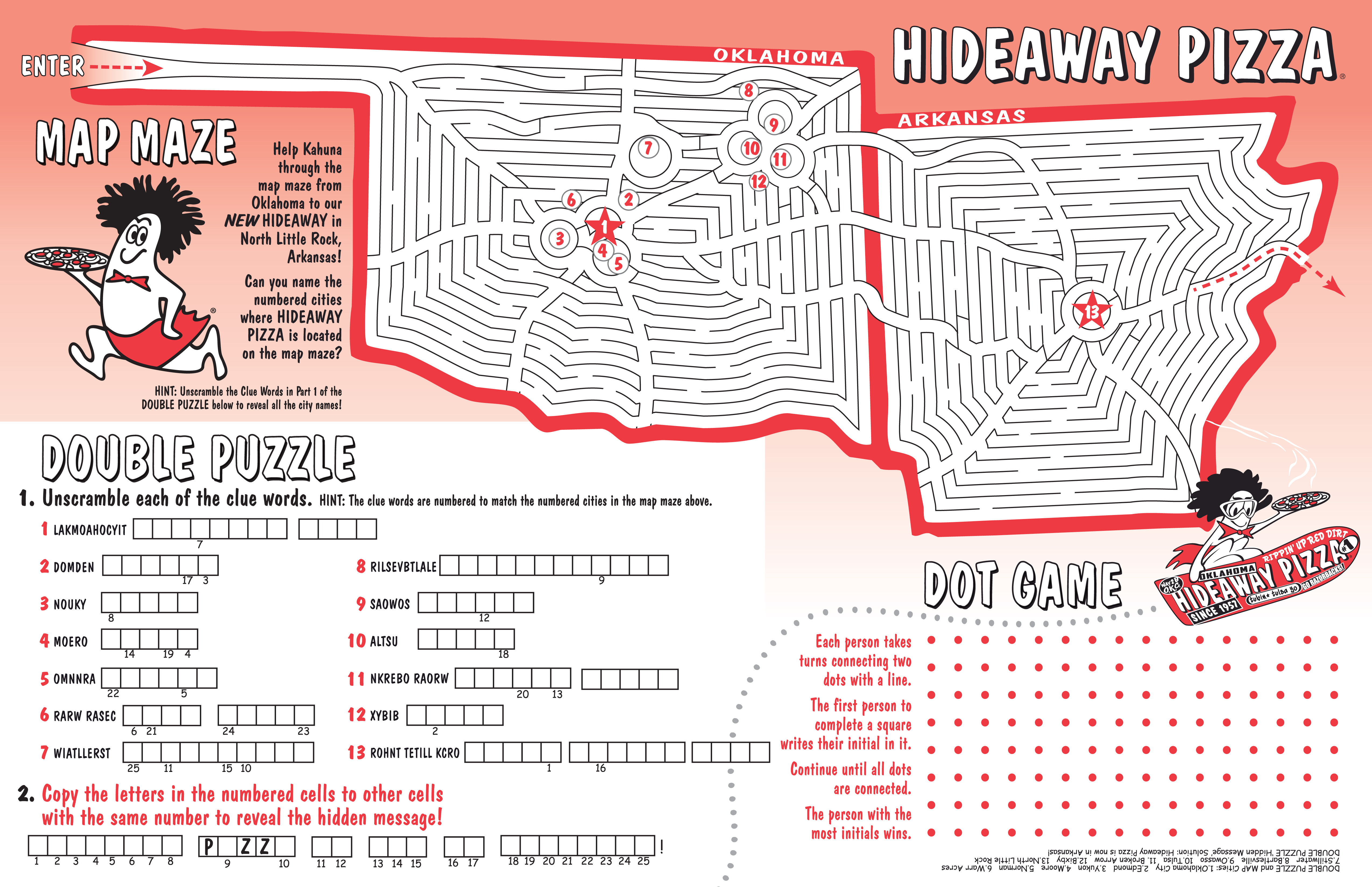 Children's Menu Design and Illustration; Game Design by Bob Paltrow Design - Hideaway Pizza, Tulsa OK