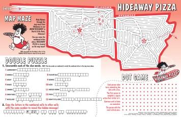 Children's Menu Design and Illustration; Game Design by Bob Paltrow Design - Hideaway Pizza, Tulsa OK
