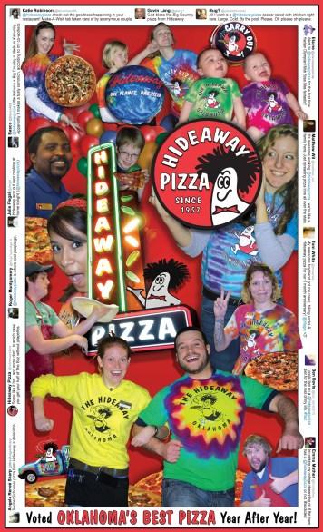 Hideaway Pizza Menu Cover - 2014 Design by Bob Paltrow