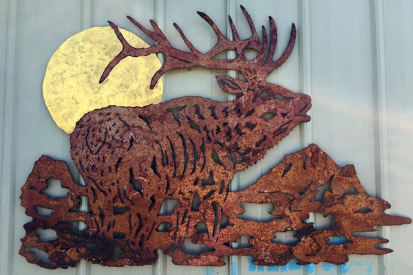 Bob Parker Fine Metal Art | Bull Elk with Full Moon - 7594