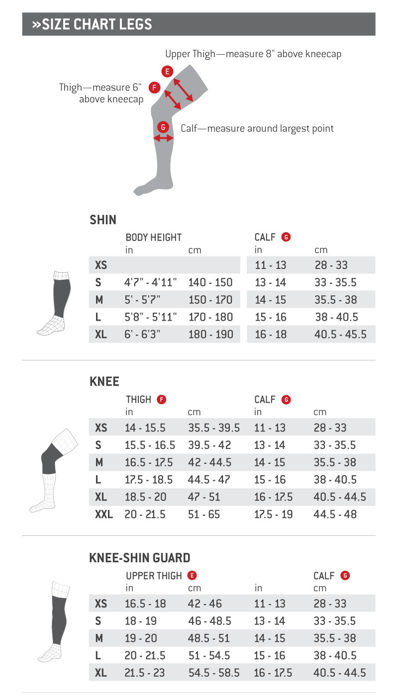 G-Form Size Chart Legs