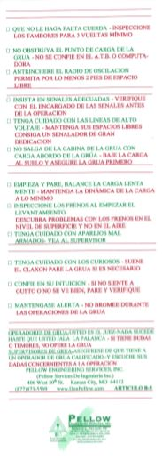 Bob's Crane Reference Cards & Safety Rules in Spanish