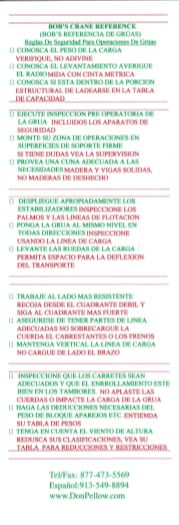 Bob's Crane Safety Rules Card - Spanish - Front