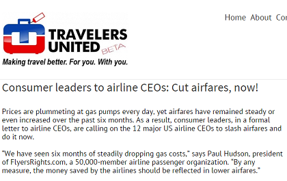 Travelers United's plea