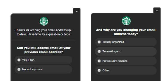 These two questions popped up on my account today when I tried to change the email address on a Starbucks account (composite image)