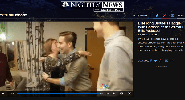 Saving someone money will get you a big, big hug.   Click to watch the NBC Nightly segment on the BillFixers. (And remember, you read it here first)