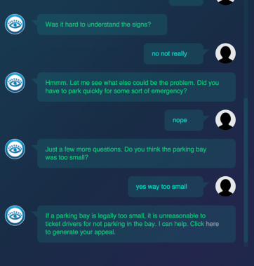 A screen shot of the robot lawyer in action.