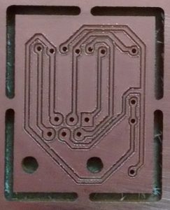 A successful PCB milling job. Traces are isolated and a light sanding job smoothed out the traces a bit.