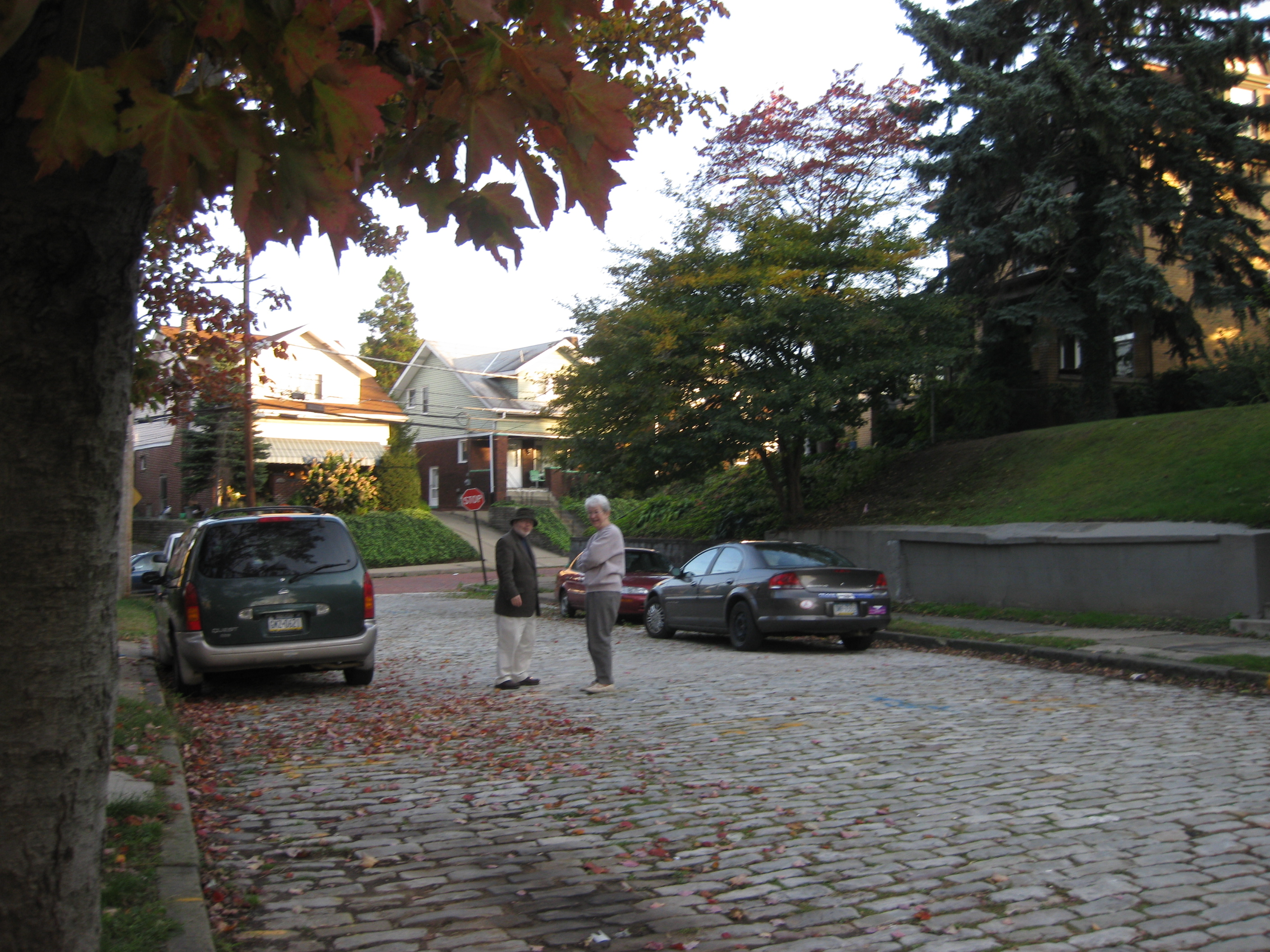 the street where I was born, Pittsburgh, Pa with a boyhood friend and a cousin, Sister Mary Traupman, CDP