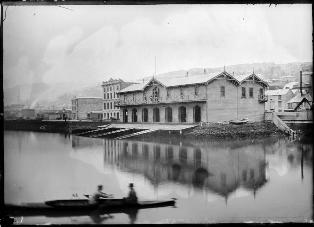 Star Boating Club seen from the harbour looking towards Jervois Quay, photographed on 11 July 1888 by Frederick James Halse of Wellington.