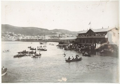Star Boating Club, Wellington waterfront, showing boats on water. Photograph taken ca 1890s, possibly by Wrigglesworth & Binns