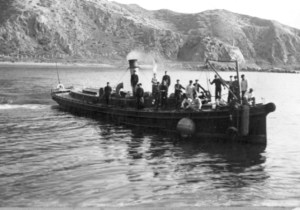 Star Boating Club Wellington Submarine Mining Volunteer Corps in camp at Shelly Camp, Wellington, in 1899, on board the defence vessel 'Ellen Balance'.