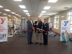 Troy M. McLellan, President & CEO of the Greater Boca Raton Chamber of Commerce, Richard Pollock, President and CEO of the YMCA of South Palm Beach County and Chris Sapp, Executive Director of the Peter Blum Family YMCA in Boca Raton.
