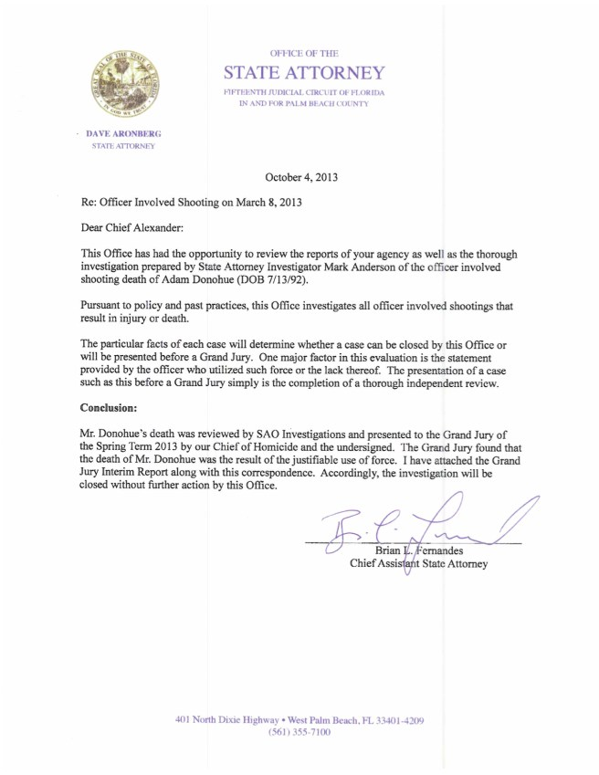The closeout memo, obtained by BocaNewsNow.com, reveals that the investigation into the shooting is now closed.
