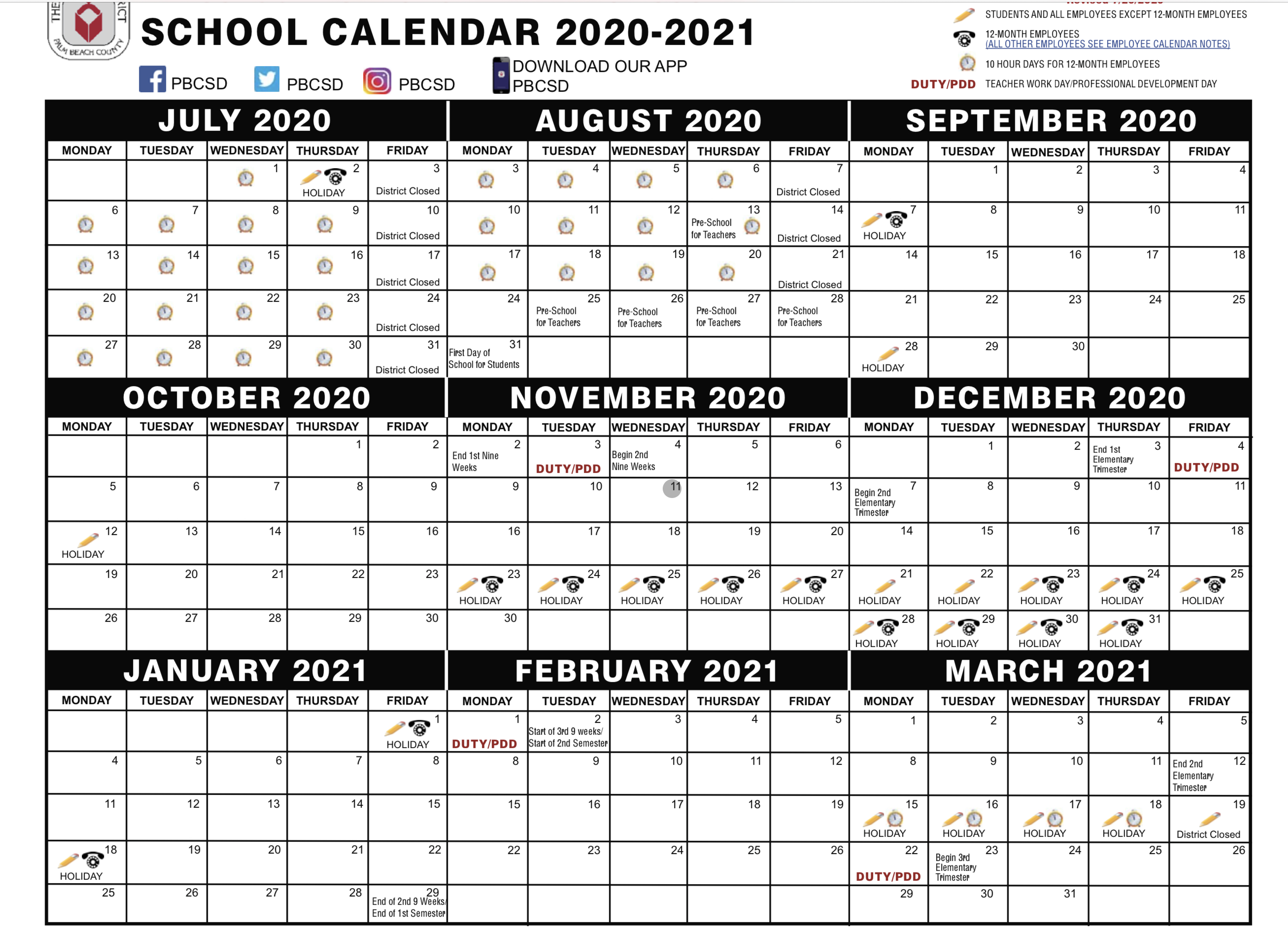 palm beach school calendar 2020-20201
