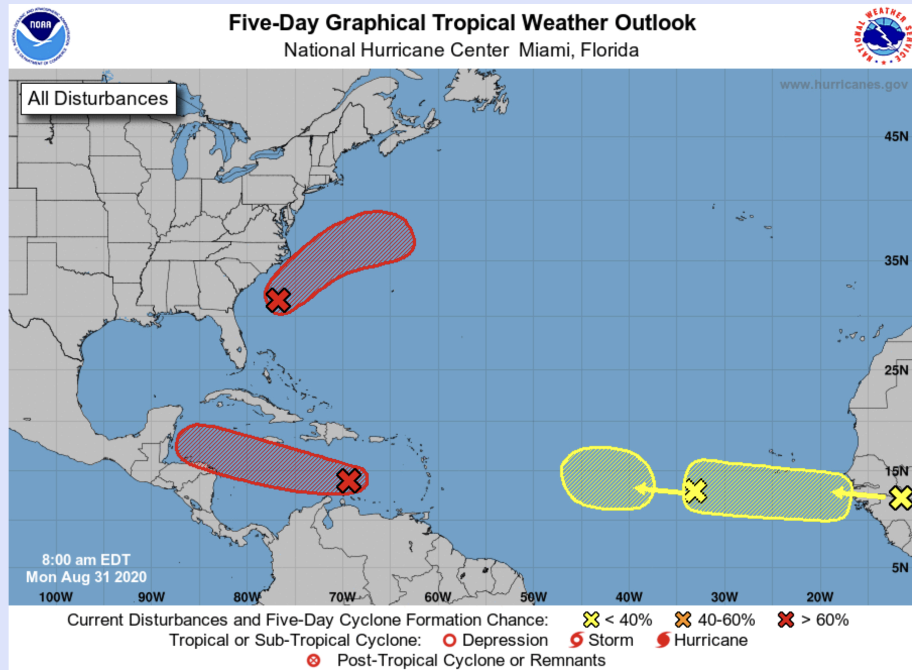 8AM National Hurricane center august 31 2020