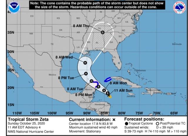 Tropical Storm Zeta Sunday afternoon