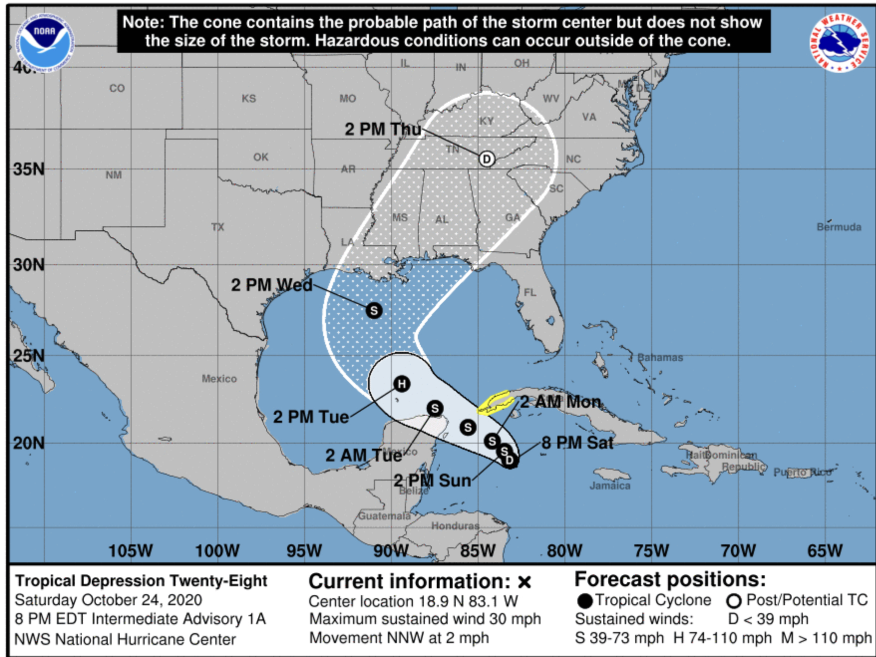 National Hurricane Center Tropical Depression 28