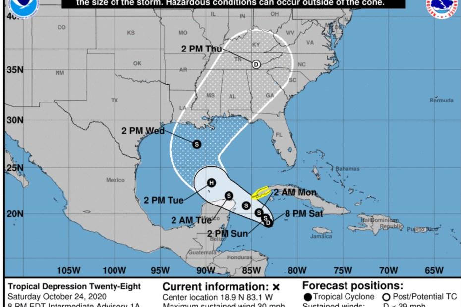 National Hurricane Center Tropical Depression 28