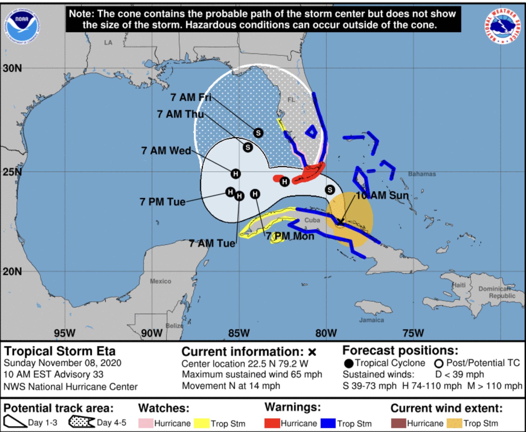 Tropical Storm Eta 10 Sunday