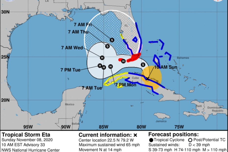 Tropical Storm Eta 10 Sunday