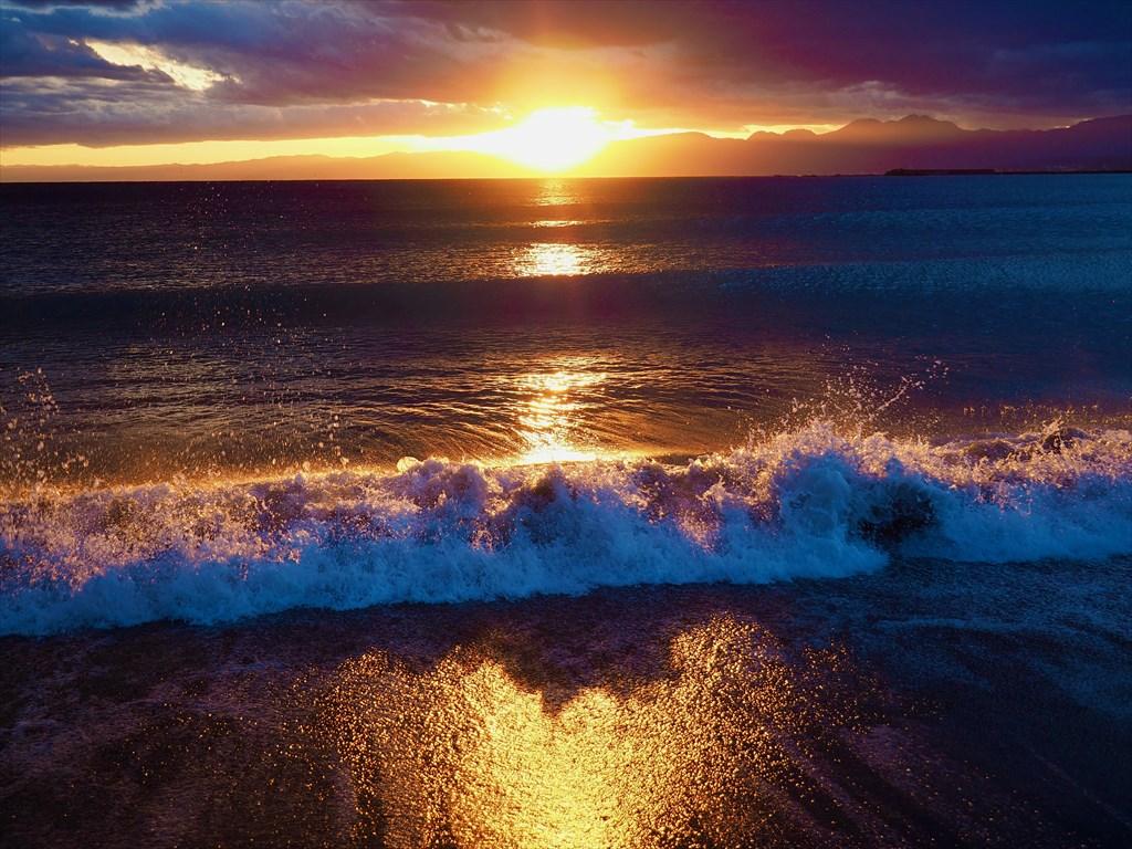夕日 茅ヶ崎海岸