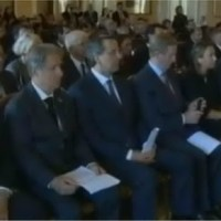 Enda Kenny Takes Sneaky Picture During Pope's Speech