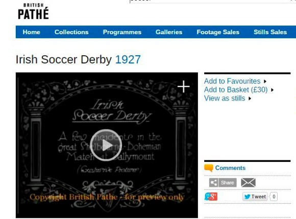 Pathe Irish soccer derby 1927
