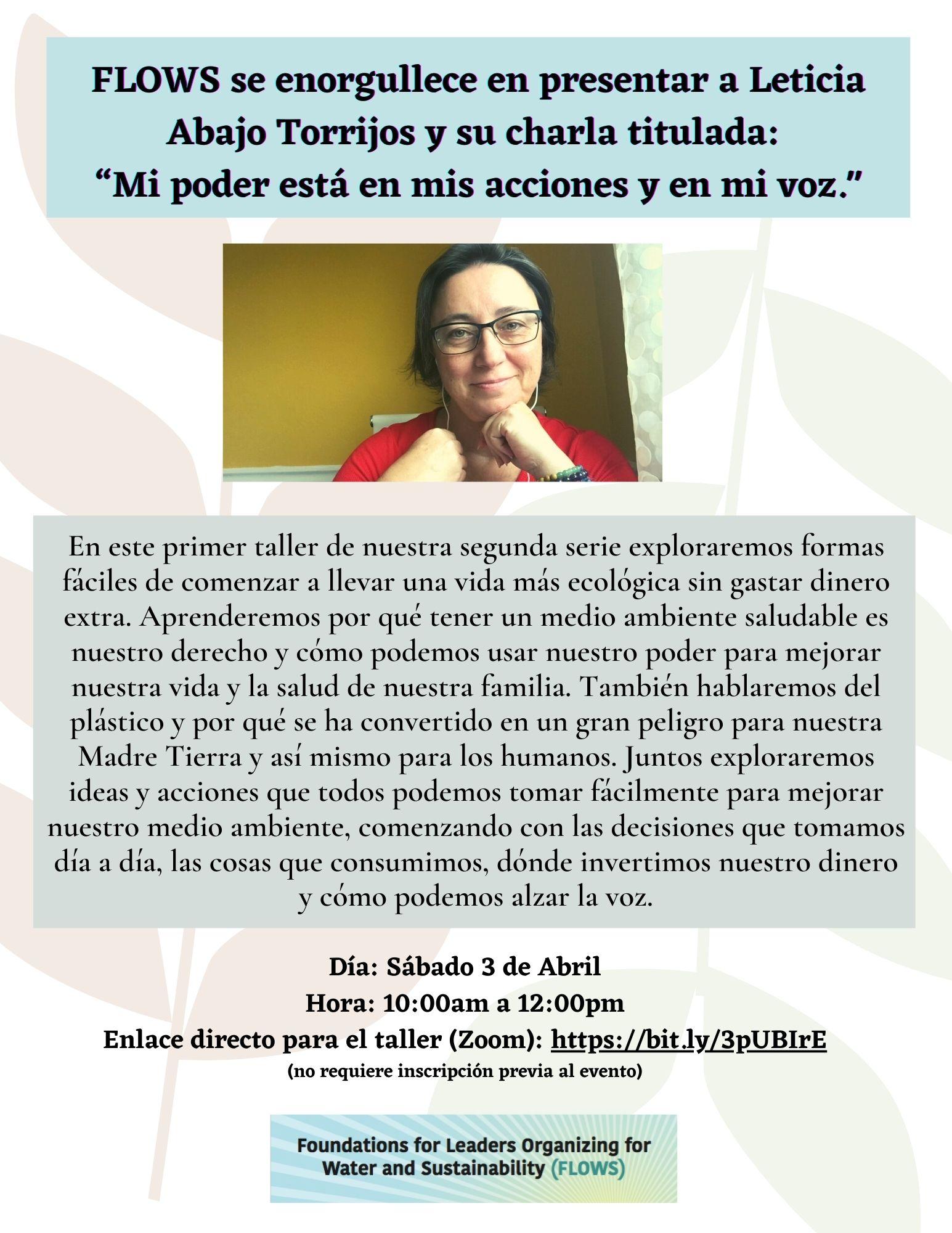 """FLOWS se enorgullece en presentar a Leticia Abajo Torrijos y su charla titulada: """"Mi poder está en mis acciones y en mi voz."""""""