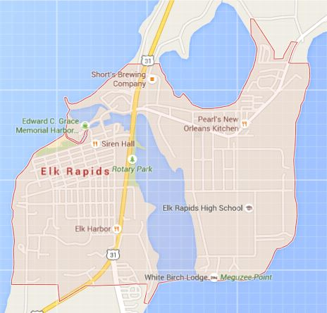 Map of Elk Rapids, MI