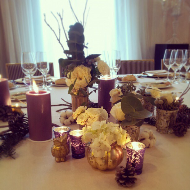 boda de invierno dorado y morado