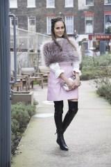 Anna Vitiello in a Hockley wrap, Valentino skirt and Fendi bag
