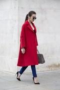 Chloe Zeng in a Jil Sander coat, Vera Wang trousers, Hermes bag and Louboutins