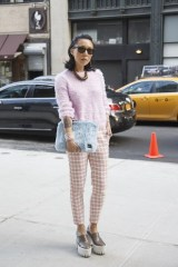 Jeannie Lee in Satine trousers, Stella McCartney shoes, Porter Japan clutch and Chanel wristband