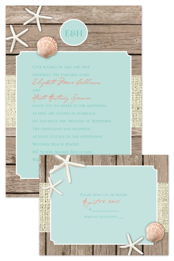 Rustic Beach Wedding Invitation Template