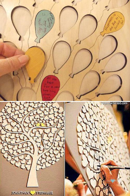 Свадебный Гость книга холст с красочными воздушными шарами. Любовь соответствующий цвет сердца и птиц для этого свадебного дерева Гостевая книга.