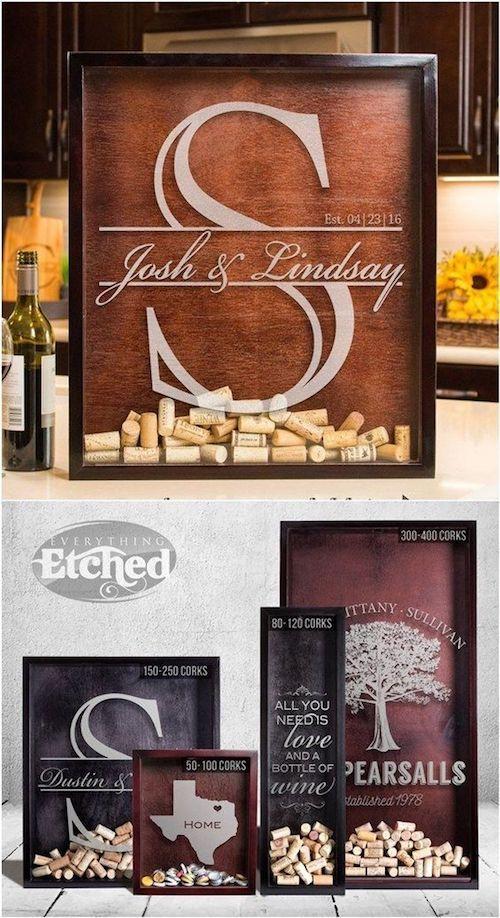 Винодельня свадьбы могут использовать тему и включают в себя довольно оригинальную идею гостевой книги. Пробки в теневой коробке!