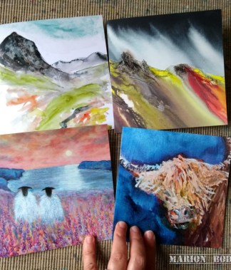 Four art card designs by Marion Boddy-Evans