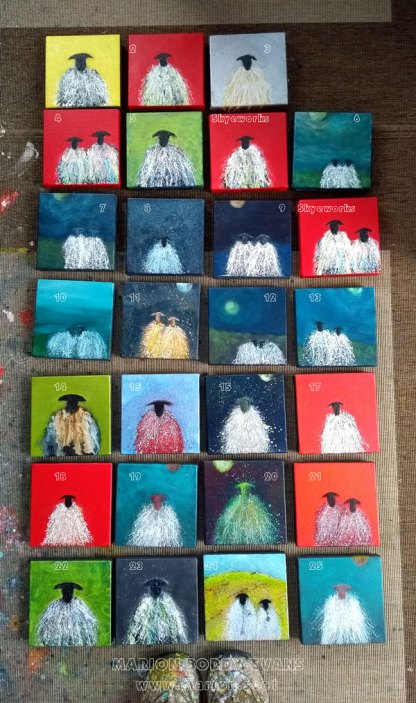 Small Sheep Paintings by Marion Boddy-Evans
