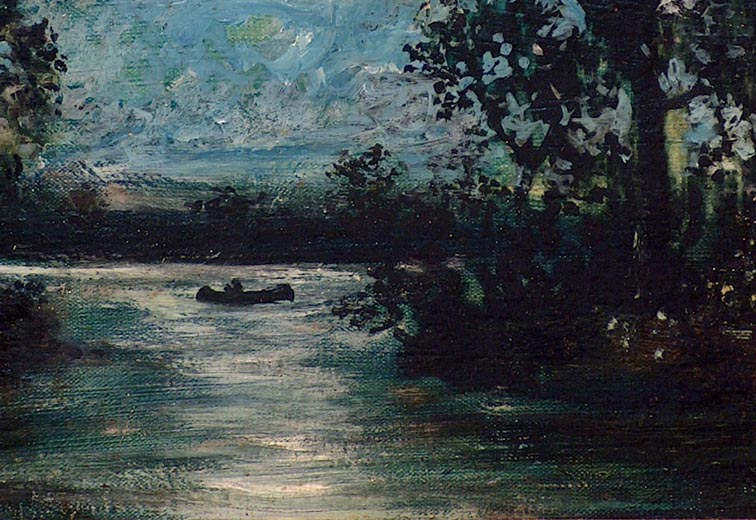 After Ralph Albert Blakelock Canoe in Moonlight Closeup Canoe