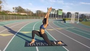 cee cee in Urdhva Ashva Sanchalasana low lunge with upward stretch on Track
