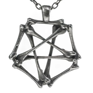Pentagram necklace bones Silver