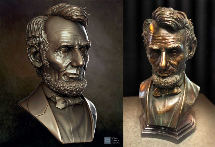 Left Image: Abraham Lincoln 3D sculpt. Right Image: Bronze Bust cast from 3D print