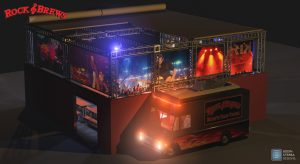 Rock & Brews 40′ x 40′ outdoor beer garden concept with Rock'n Taco truck.